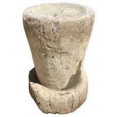 Large Mexican Huastec Primitive Hand Hewn Log Coffee Mortar