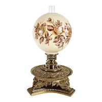 Continental Cast Brass and Floral Glass Globe Kerosene Oil Lamp / Parlor Table Lamp