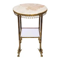 Empire Style Marble, Glass and Brass Round Two-Tier Gueridon Stand / Side Table