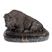 ADAM ROSE Cast Bronze and Marble Sculpture, Resting Bison