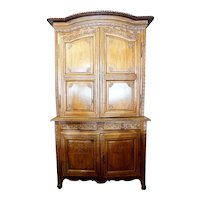 French Louis XVI Cherry Wood Buffet a Deux Corps