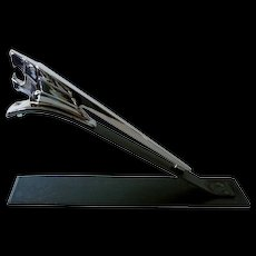 Vintage French Peugeot 403 Chrome Car Hood Ornament on Stand