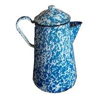 Blue & White Graniteware Coffee Pot