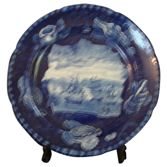 19th Century Dark Blue Historical Staffordshire - Mac Donnoughs Victory