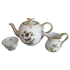 Herend Rothschild Bird 4pc. Tea Set