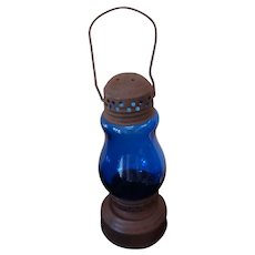 Tin Skater's Lantern Cobalt Blue Globe