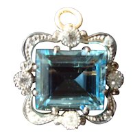 Belle Epoch Aquamarine & Diamond Pendant/Pin