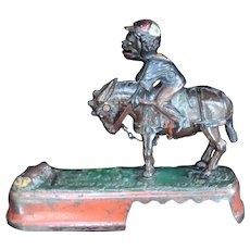 Cast Iron Mechanical Bank - Mule & Jockey Circa 1879