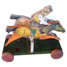Gibbs Paper on Wood Horse and Jockeys Toy circa 1900