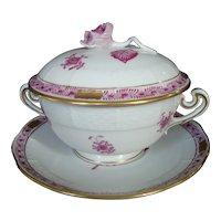 Herend Raspberry  Bouquet Cream Soup & Under tray