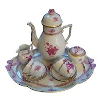 Herend Chinese Bouquet - Raspberry - Coffee Set with Tray