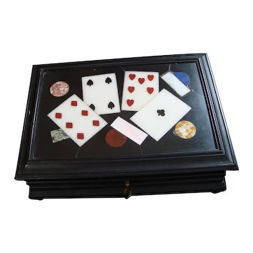 Vintage Petra Dura Playing Card Box