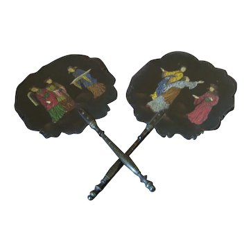 Pair of Papier Mache  Chinoiserie Face Fans
