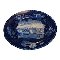 19th Century Dark Blue Historical Staffordshire - Commodore Mac Donnough's Victory