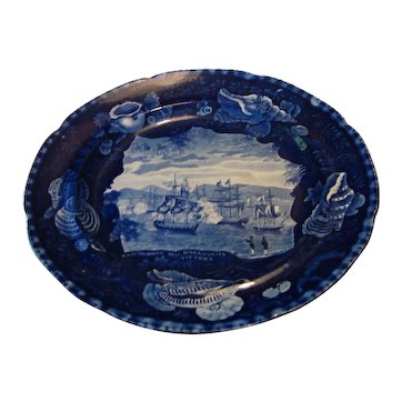 19th Century Dark Blue Historical Staffordshire - Commodore Mac Donnough's Victory