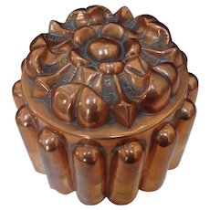 English Copper Jelly Mold - Tudor Rose Design