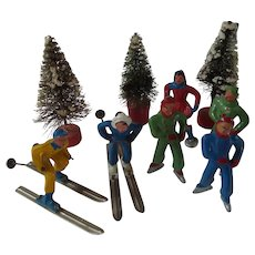 Barclay Winter Figures - Skaters & Skiers with Mirror
