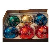 Six Shiny Brite Christmas Ornaments - Plastic Caps