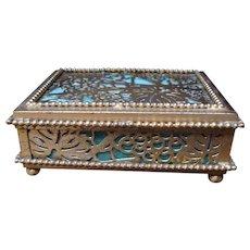 Tiffany Studios Green Slag Glass & Bronze Trinket Box