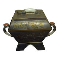 Chinese Pewter Box with Jade, Carnelian and Brass