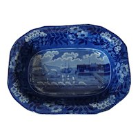Dark Blue & White Historical Staffordshire Landing of Lafayette Bowl