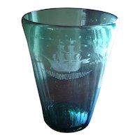 Large Aqua Flint Glass Blown Flip