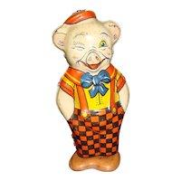 Tin Wind Up Chein Winking Pig Toy