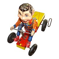 Howdy Doody Tin Wind-up Bicycle Go Cart