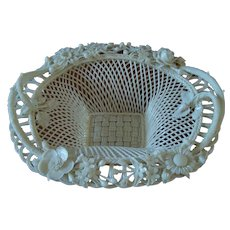 Irish Belleek Sydenham Twig Basket - Early Mark