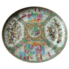 19th Century Rose Medallion Plate - Court Scene & Many Butterflies