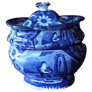 Large Dark Blue Historical Staffordshire Sugar Bowl - Rebecca at the Well - Clews