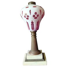 Boston & Sandwich Glass -  Red/White Overlay Oil Lamp