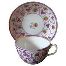 19th Century Staffordshire Strawberry Lustre Cup & Saucer