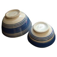 19th Century Cornish Ware Blue Rimmed Bowls - ENGLAND