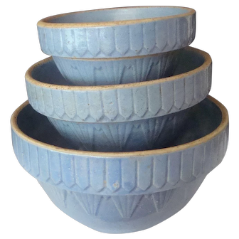 Ruckel's Blue Picket Fence Mixing Bowls-Whitehall Ill.