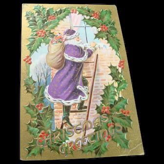 Purple Robed Santa Christmas Card - Climbing a Ladder