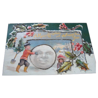 Vintage Christmas Card-Children Moon-faced Snowball