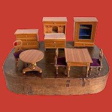A large size dollhouse furniture set in original box, German, circa 1880