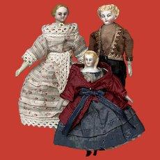 An early dollhouse family, German, circa 1860