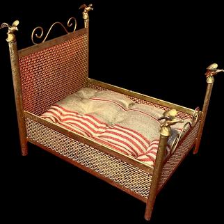 A rare gilded dollhouse bed, Rock & Graner or Märklin, circa 1890