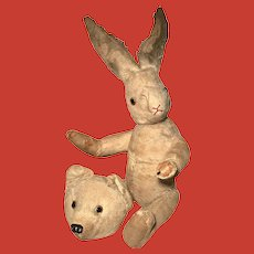 An extremely rare Kohler & Rosenwald teddy bear and exchangeable rabbit's head
