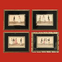 "A fine set of four French engravings, ""Ballroom Dances"""