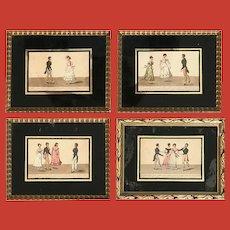 "A fine set of four French engravings, ""Ballroom Dances"""