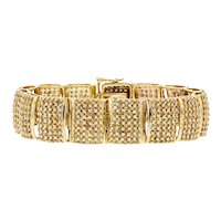 10KT Round Diamond 9CTW Cluster Bracelet-6.5 Inches With Extra 0.8 Inch 2 Links