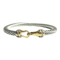 David Yurman Cable Sterling Silver & 18K Gold Diamond Hook Bangle Bracelet 5MM