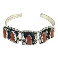 Sterling Silver Southwestern 5 Jellybean Shape Coral Cuff Bracelet