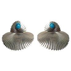 Big Vintage Native American Southwestern Turquoise Fan Earrings Sterling Silver