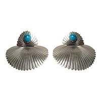 Sterling Silver Oval Cabochon Turquoise Fan Earrings