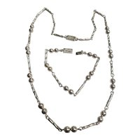 Taxco Beaded & Twist Link 24 Inch Necklace & 7.5 Inch Bracelet Set