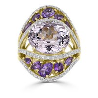 14KT Yellow Gold Kunzite, Diamond, & Amethyst Cocktail Ring